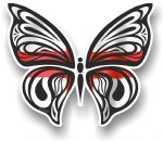 Ornate Butterfly Wings Design With English St Georges Cross Flag Motif Vinyl Car Sticker 100x85mm